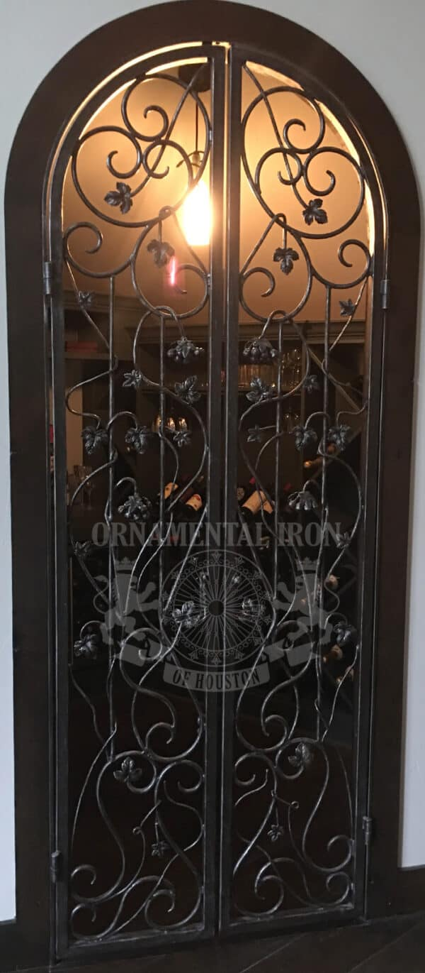 wrought iron double wine cellar doors